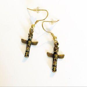 925 Sterling silver totem pole drop earrings